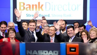 Closing bell at the NASDAQ MarketSite