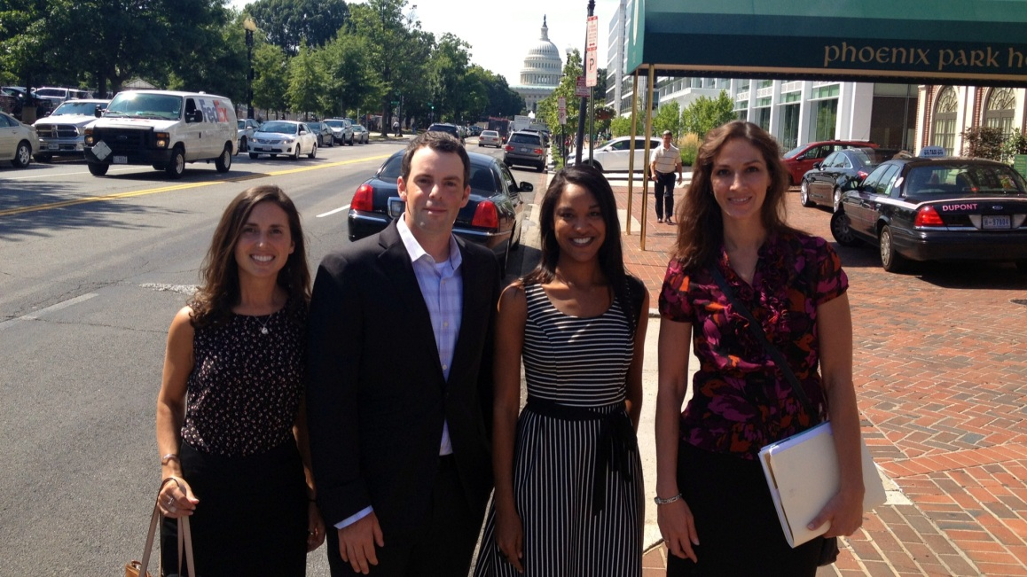 Kelsey, Jake, Mika and Katy outside our D.C. offices