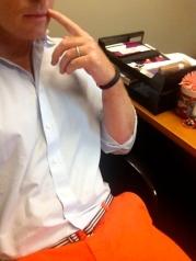 Hmm... I wonder who else will have orange Bonobos pants on today