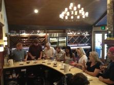 2nd wave of wine tasting (Robert, Daniel, Jack, Dan, Mika, Michelle + random woman)