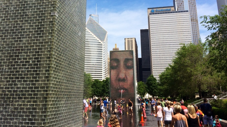 The Crown Fountain in Millennium Park