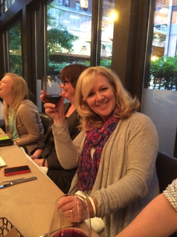 Michelle having fun at dinner in Chicago